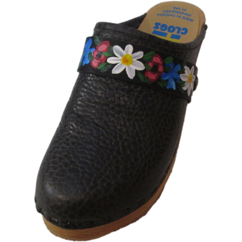 High Heel Black Pebbled Leather with Flower Band Strap