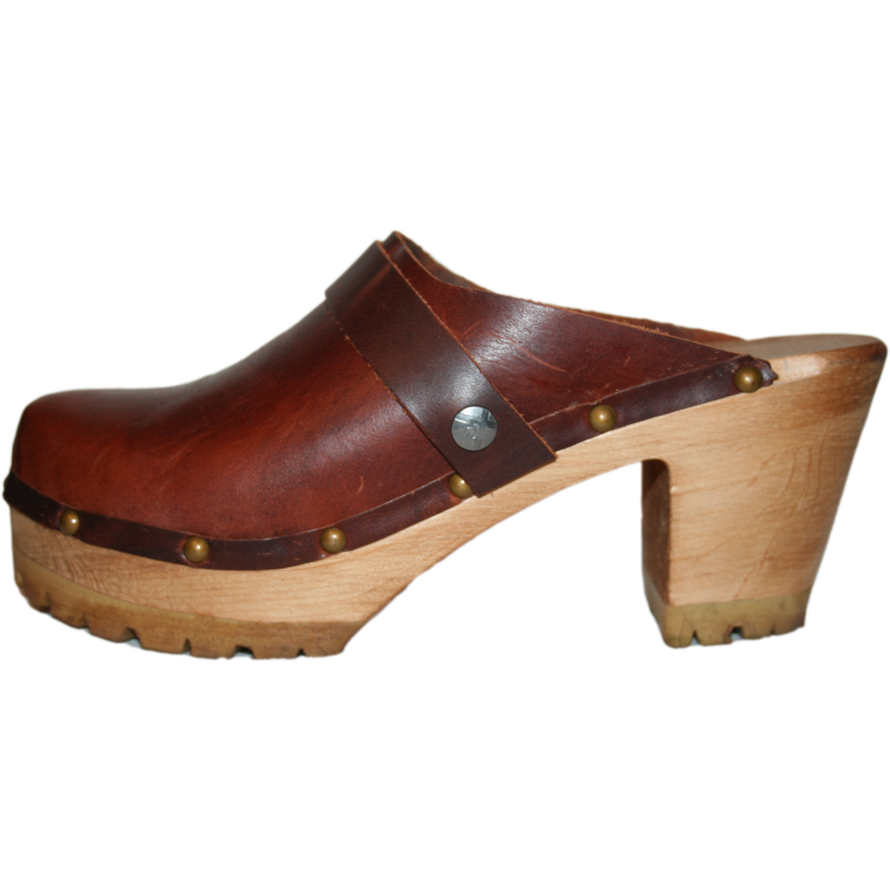 Tessaclogs High Heel mountain clogs in bourbon leather