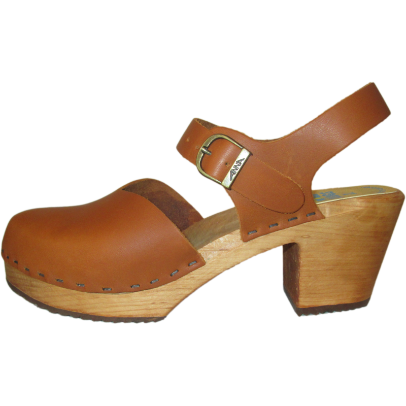 High Heel Closed Toe Oil Tanned Moa Sandal with Natural Sole