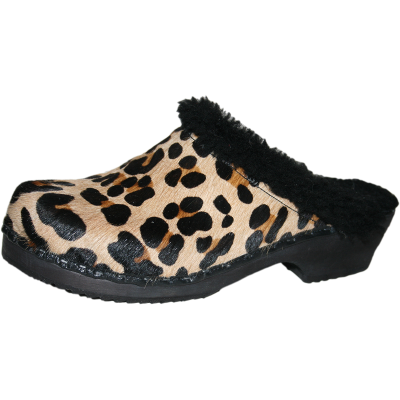 Tessa Traditional Heel Shearling Lined Leopard Clog