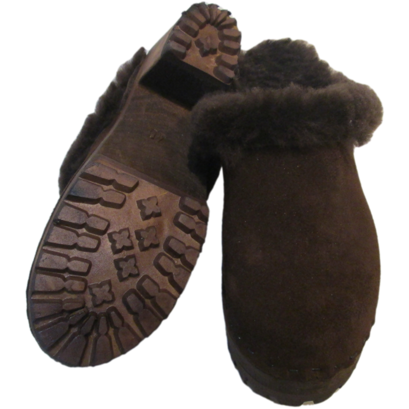 Brown Suede Shearling Lined High Heel Mountain Clogs