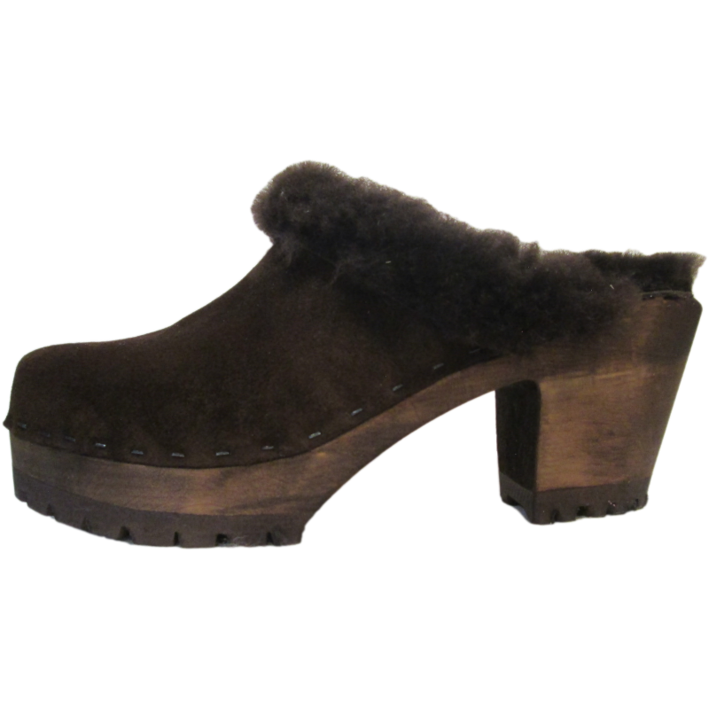Brown Suede Shearling Lined High Heel Mountain Tessa Clogs