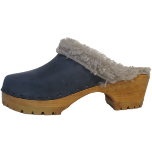Denim Shearling Lined Mountain Clogs