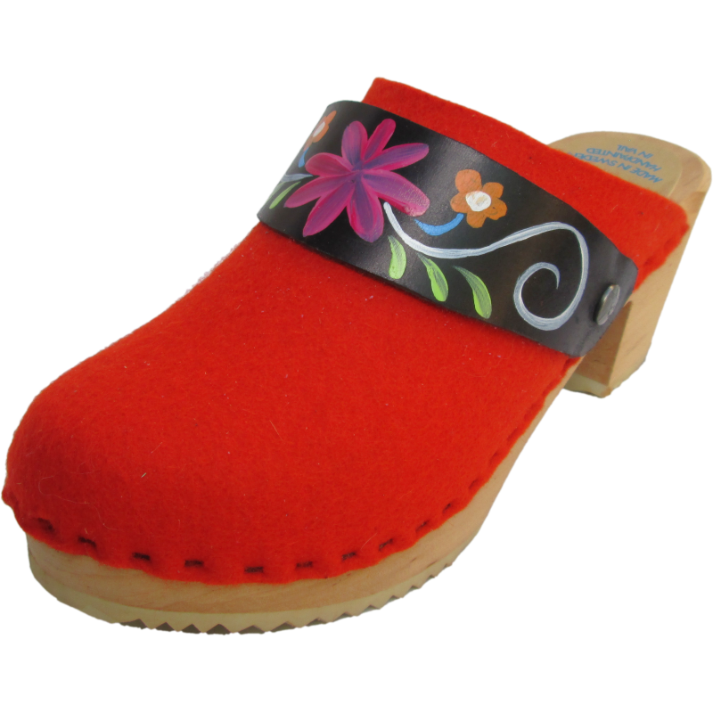 High Heel Orange Felt Wool Snap Strap Clogs