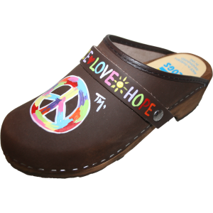 Traditional Heel Brown Oil Peace Sign