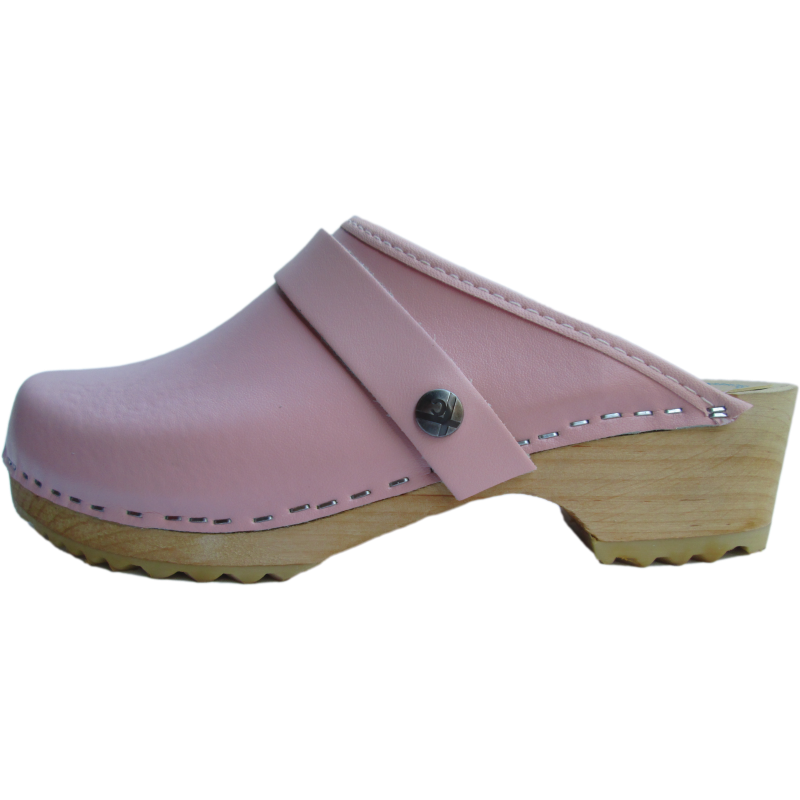 pink clog with wooden sole, baby pink color clog, Tessa Clogs