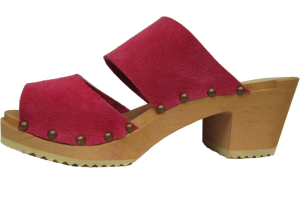 Berry Suede Two Strap Sandal High Heel with Decorative Nails