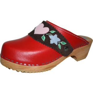Traditional Heel Red with Heidi Strap