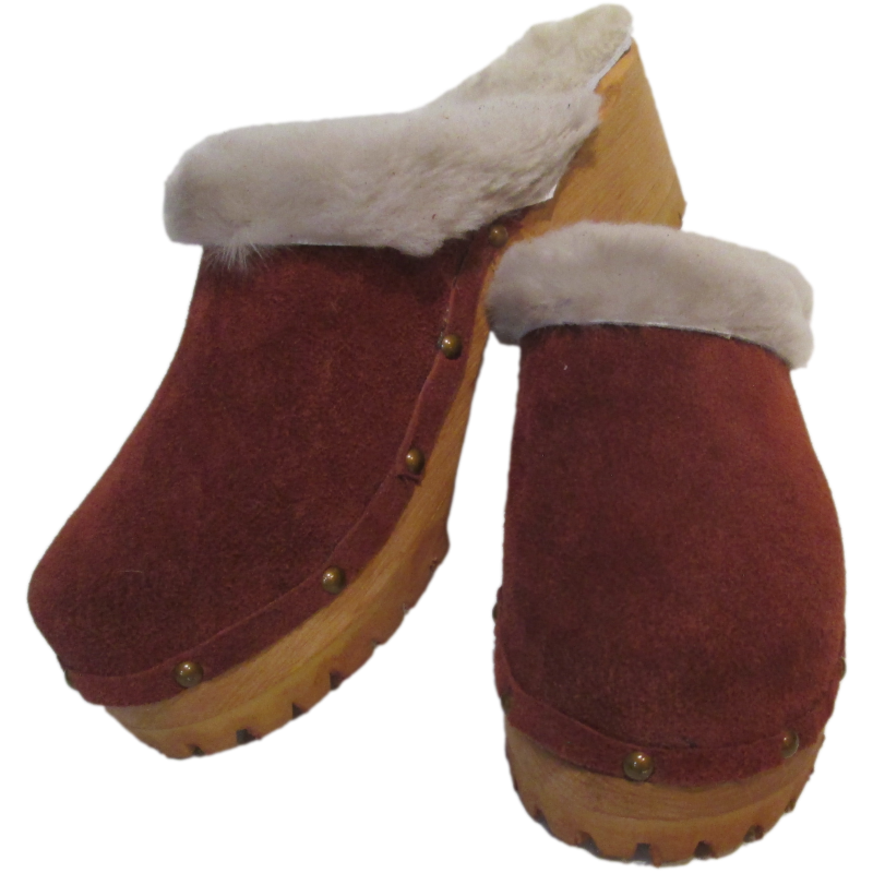 Beige Shearling Lined Rust Suede Mountain Clogs finished with Decorative Nails