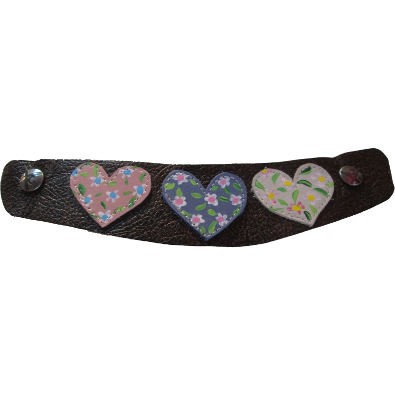 Brown Painted Hearts Snap Strap