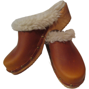 Traditional Heel Sunrise Oil Shearling lined clogs with Decorative Nails