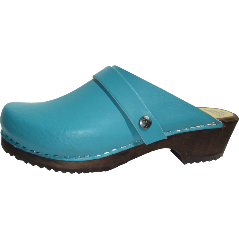 teal color leather clog with wooden sole, made in Minturn, Colorado