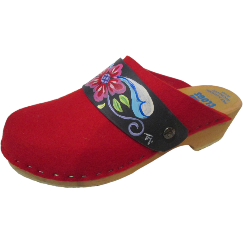 Traditional Heel Red Felt Wool Tessa Clog with Denim Petra Snap Straps