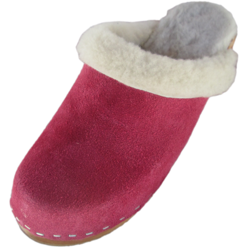 Traditional Heel Berry Suede Shearling