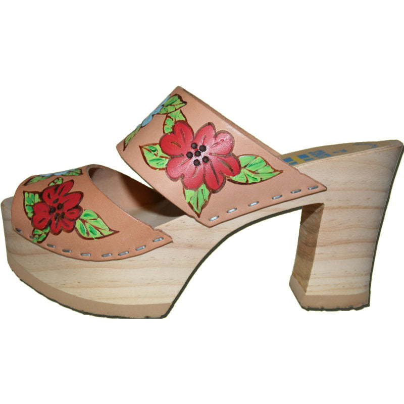 Ultimate High Two Strap Sandal in Natural Hand Painted with our Isabella Design
