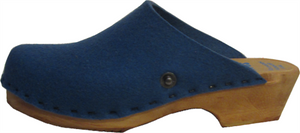 Wedgewood Blue Felt Wool Traditional Heel Tessa Clog