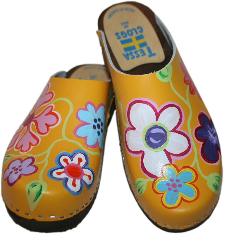 Traditional Heel Yellow Hand Painted Christy Clog