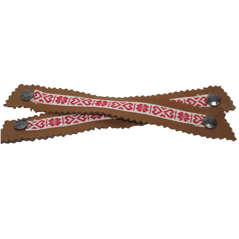 Scandinavian Red and Cream Narrow Ribbon Snap Strap