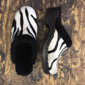 Traditional Heel Zebra Pony Hair Shearling lined clogs