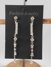 Single Row Drop Rhinestone Earring - 3-3/4""