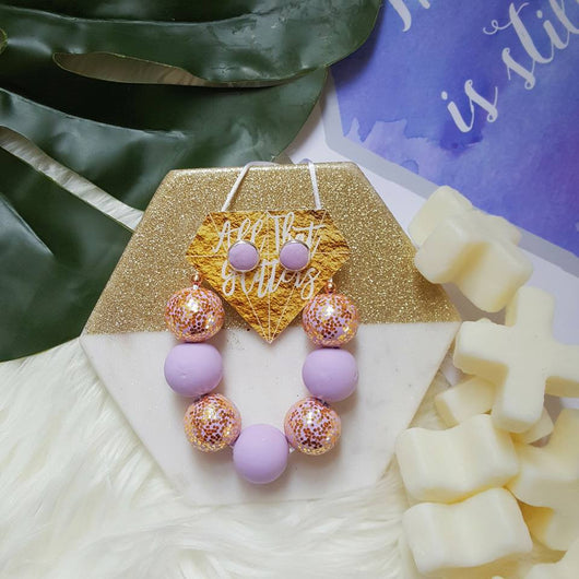 'Glitter Lavender' handmade clay polymer jewellery accessories