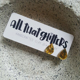 Gold Teardrop Glitter Bomb Ear Bling handmade clay polymer jewellery accessories