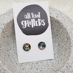 Midnight Foil Stud Ear Bling Earrings | All That Glitters handmade clay polymer jewellery accessories
