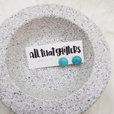 Aqua Howlite Stud Ear Bling Earrings | All That Glitters handmade clay polymer jewellery accessories