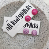 Pink Howlite Stud Ear Bling Earrings | All That Glitters handmade clay polymer jewellery accessories