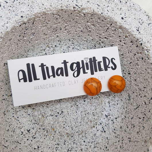 Orange Howlite Studs Ear Bling Earrings | All That Glitters handmade clay polymer jewellery accessories