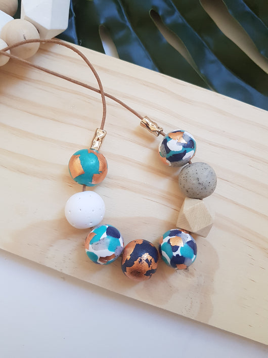 'Get Speckled' Aqua Navy Marble Range handmade clay polymer jewellery accessories