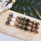 'Get Speckled' Khaki Camo Range handmade clay polymer jewellery accessories
