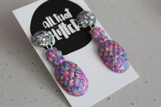 All That Glitters | Pink Sherbet Pineapple Drop Dangles handmade clay polymer jewellery accessories
