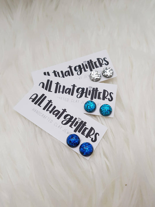 Children Sized Glitter Studs | All That Glitters Au handmade clay polymer jewellery accessories