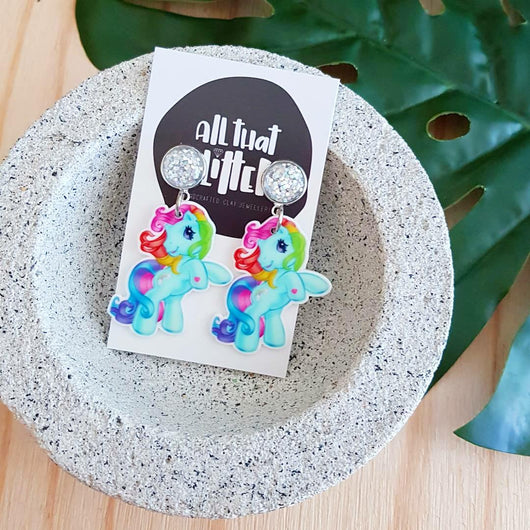 Little Pony Glitter Dangles | All That Glitters AU handmade clay polymer jewellery accessories