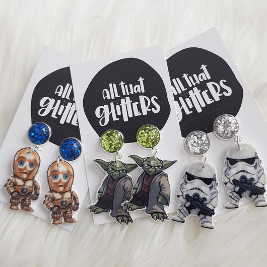 Star Wars Inspired Glitter Dangles handmade clay polymer jewellery accessories