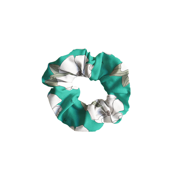 Freehanded Flowers - Teal Scrunchie