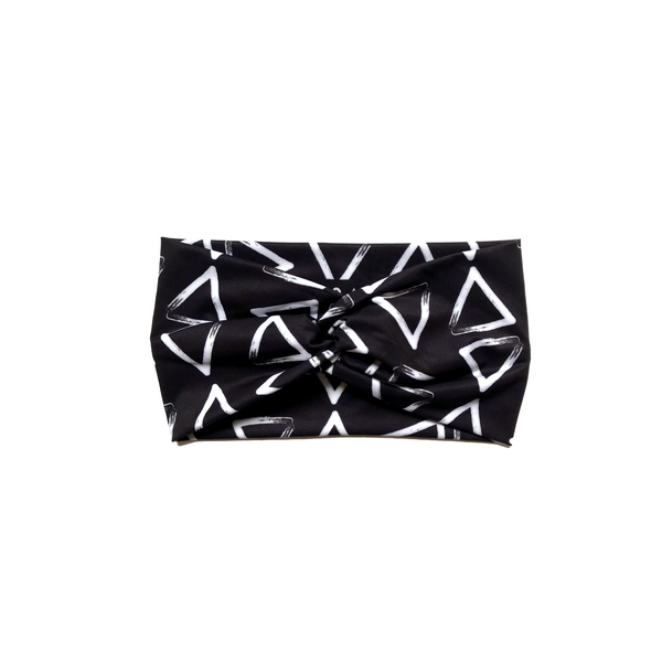 Black & White Brushed Triangles Headband