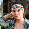 Burnt Orange, Tan, & Teal Abstract Headband