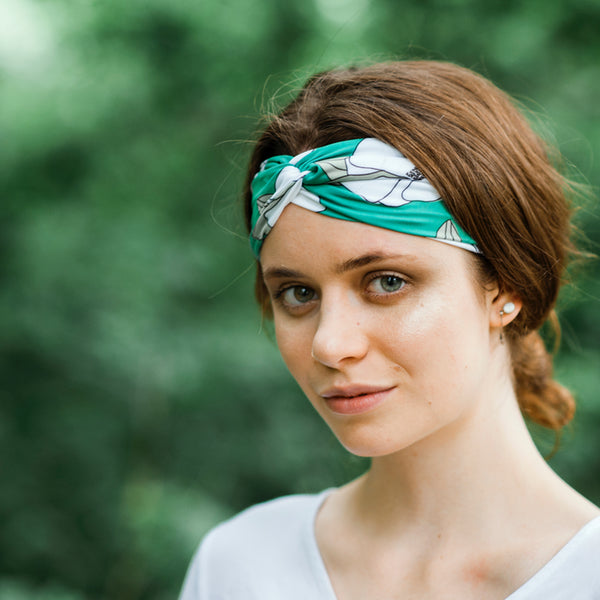 Freehanded Flowers - Teal Headband