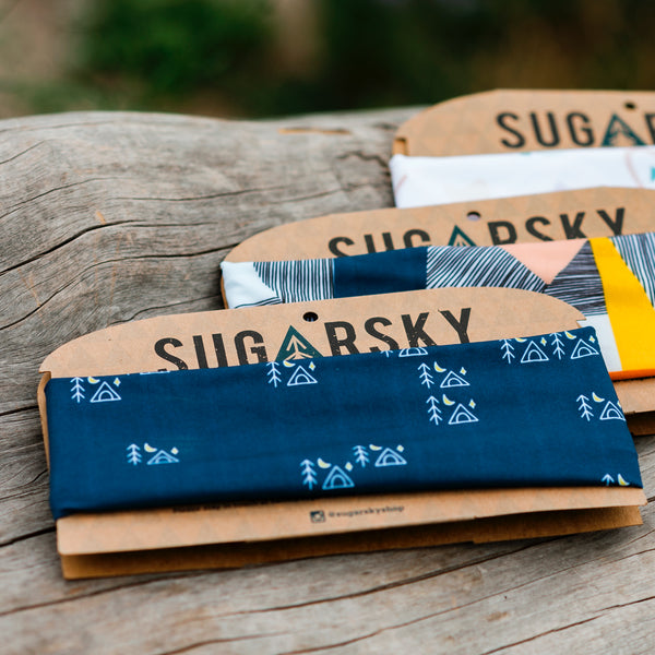 Navy Tiny Campsites Headband