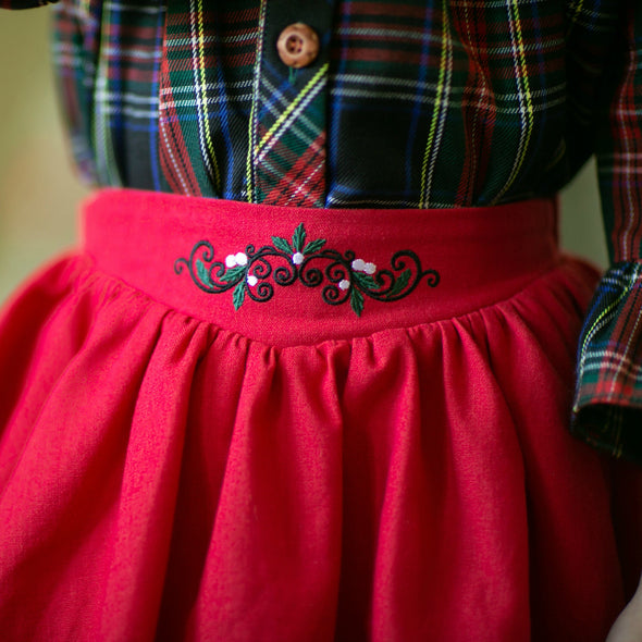 Christmas Plaid Blouse & Skirt Set