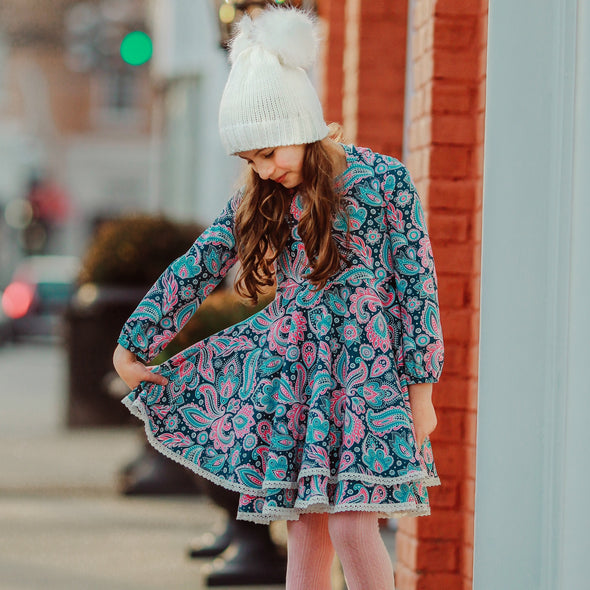 Juliette Dress - Pink and Blue Paisley