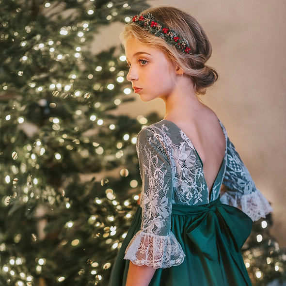 Solid GREEN & Lace Overlay Christmas Dress
