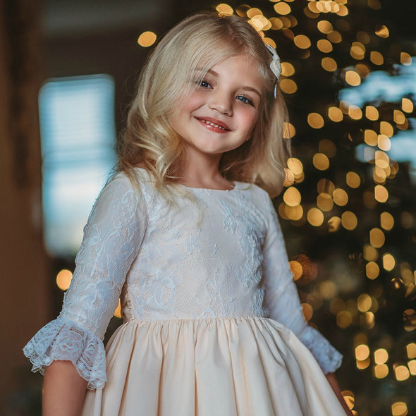Solid CREAM & Lace Overlay Christmas Dress