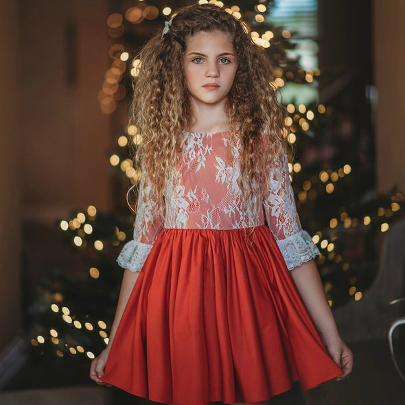Solid RED & Lace Overlay Christmas Dress