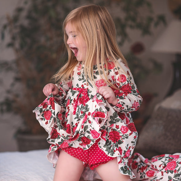 Home for the Holidays Short Gown + Bloomers Set