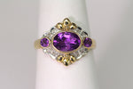 10K Oval Natural Amethyst Ring