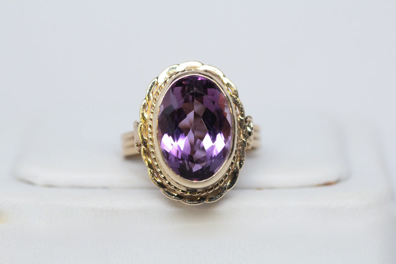 14K Oval Natural Amethyst Ring