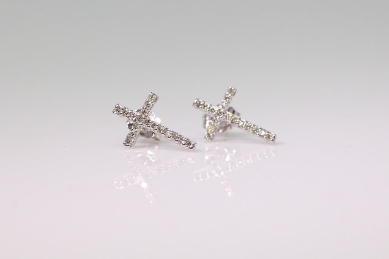 10K Diamond Cross Post Earrings